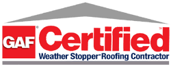 GAF Certified logo | Tallent Roofing is a GAF Certified Weather Stopper Roofing Contractor